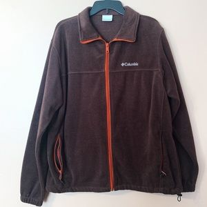 Brown/ Orange Men's Columbia Fleece Jacket XL